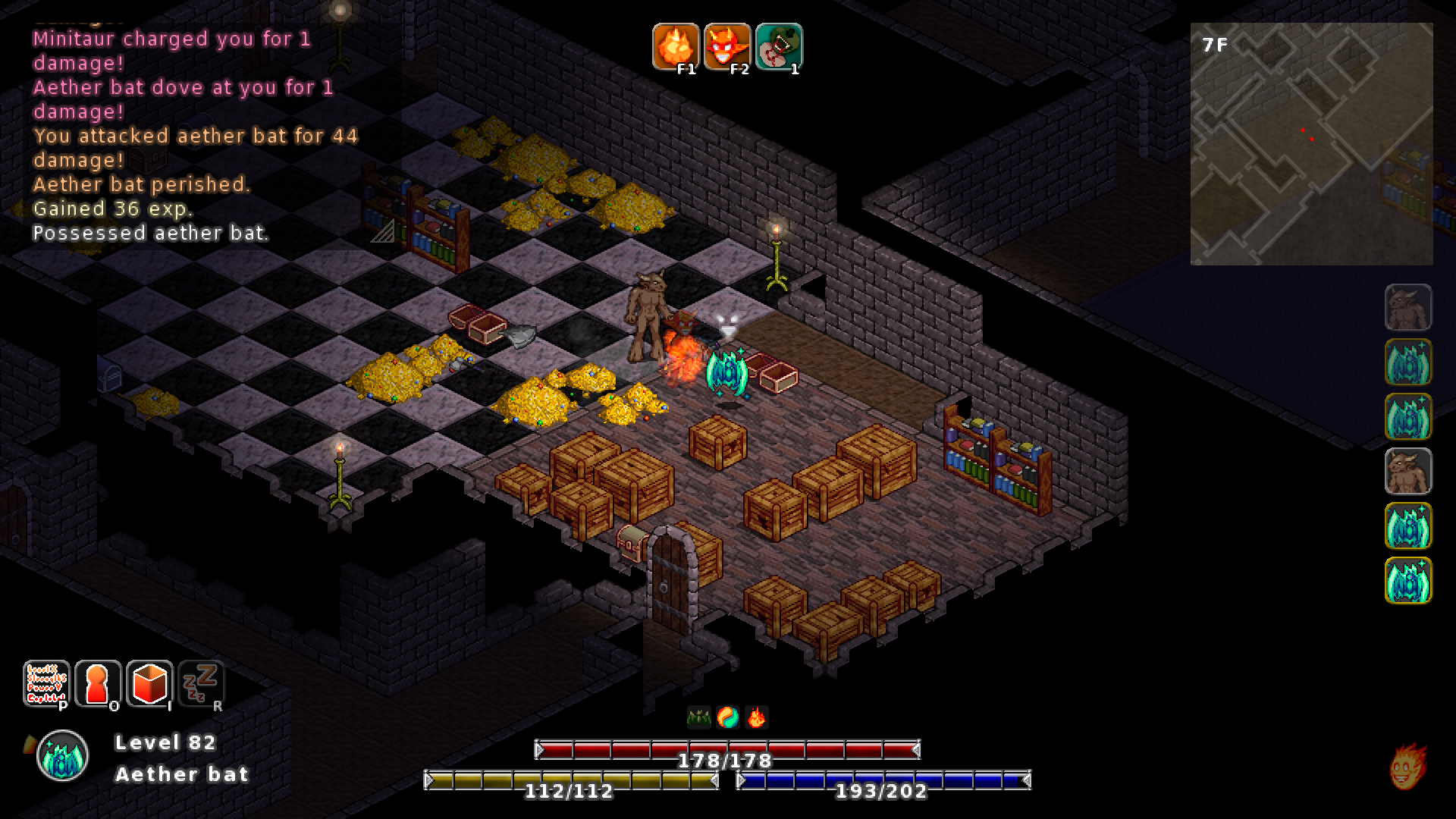 A humanoid creature with horns and fur standing in a underground dungeon room with piles of gold, wooden crates and bookshelves.
