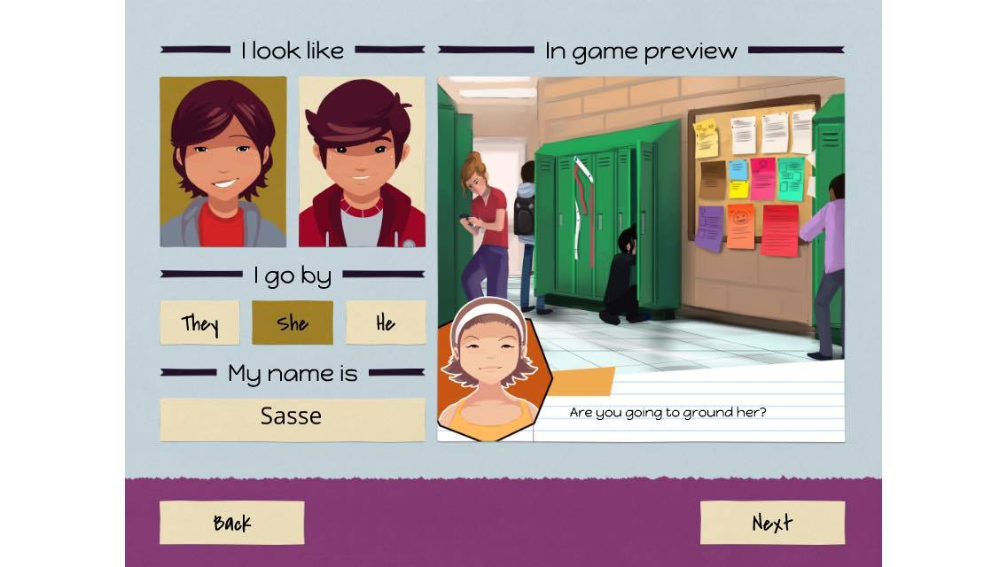 LongStory pronoun selection screen with in-game preview of pronouns used.
