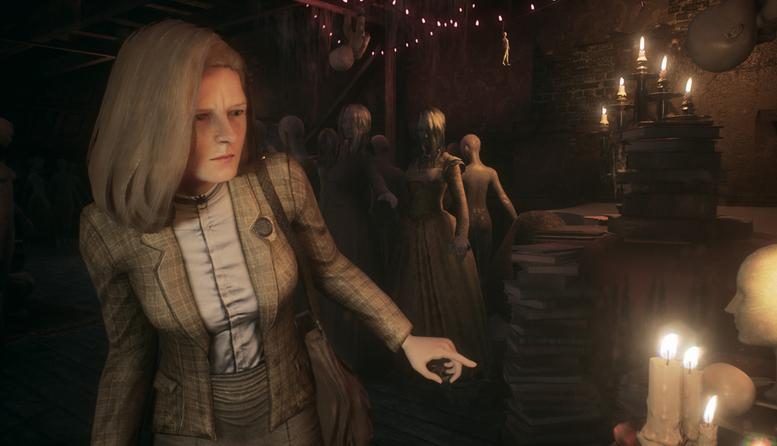 An older feminine figure investigates in a candlelit room while a group of figures or mannequins gather behind her.