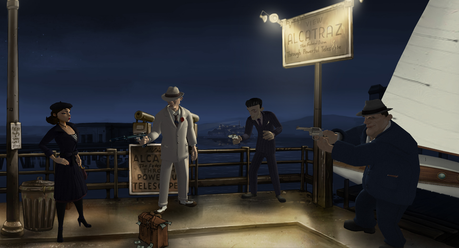 Three masculine characters in suits of different styles are pointing guns at a feminine person who is wearing a beret. They are standing by the water with a nearby sign saying 'View Alcatraz The Federal Prison Through Powerful Telescope'. A bag with money spilling out of it is on the ground.