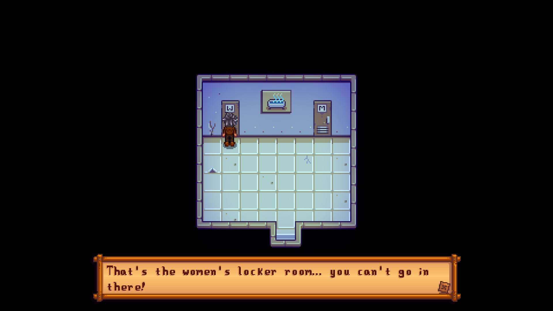 A gender ambiguous person standing in front of a door marked with a W. Another door marked with an M. Text reads 'That's the women's locker room. You can't go in there.'.