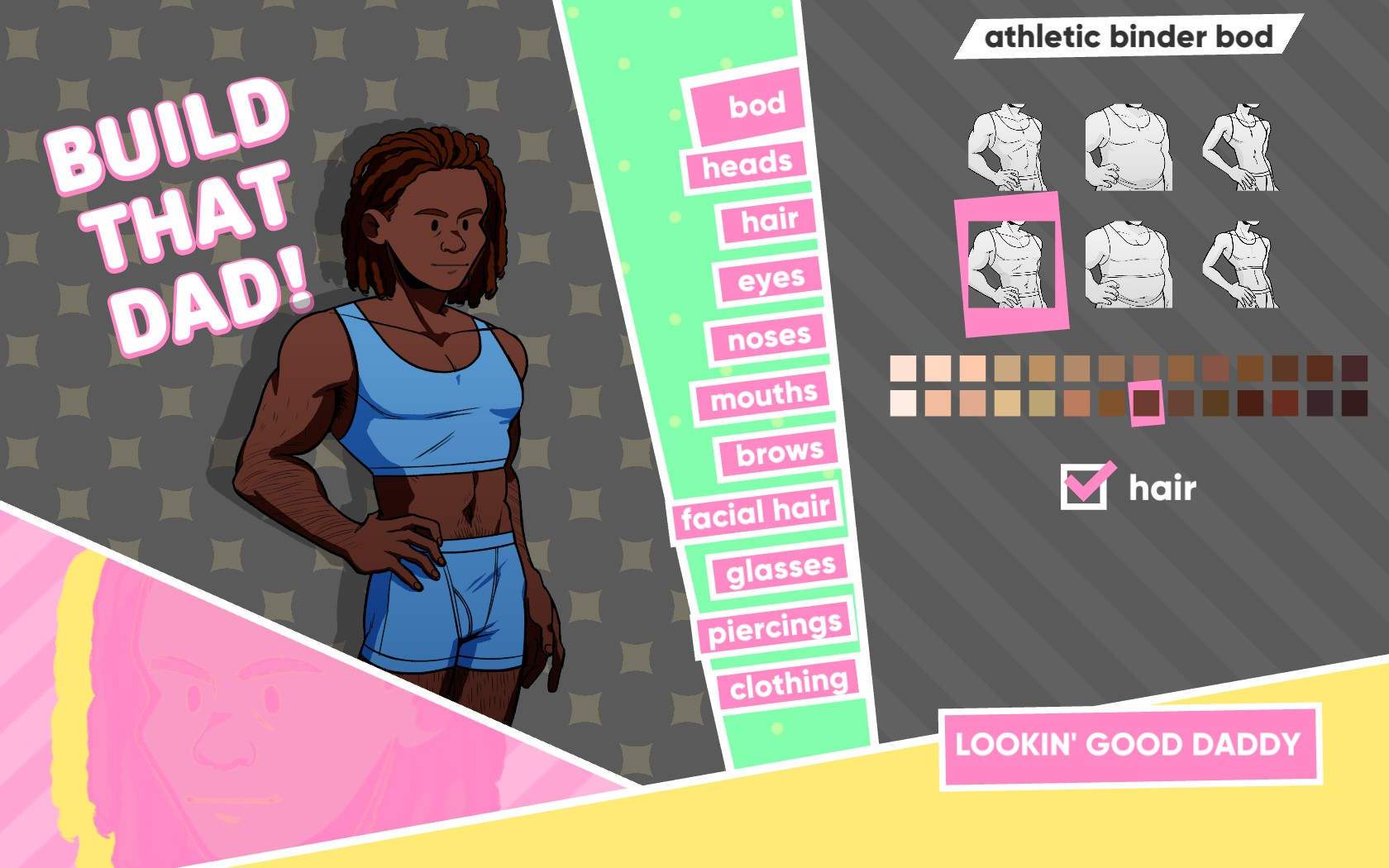 A masculine figure on a character creator, which says, 'Build that dad!' Options are: bod, heads, hair, eyes, noses, mouths, brows, facial hair, glasses, piercings, and clothing. 'Bod' is selected, with six image options, many colour options, a checkbox for 'hair', and the label 'athletic binder bod'.