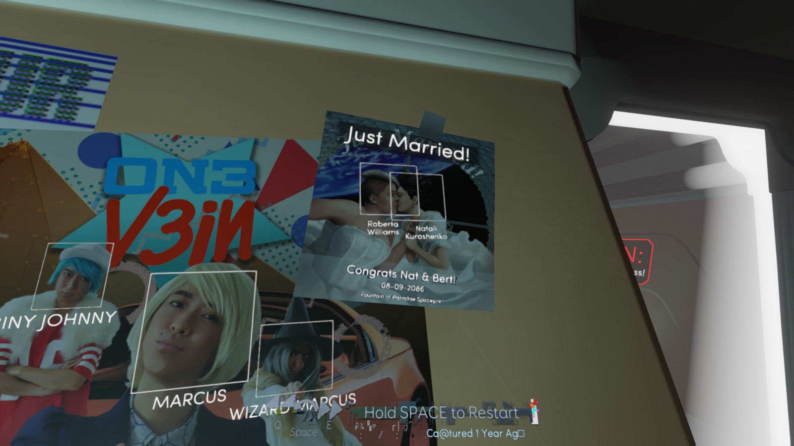 Several posters stuck on a wall, one reads 'Just married'.