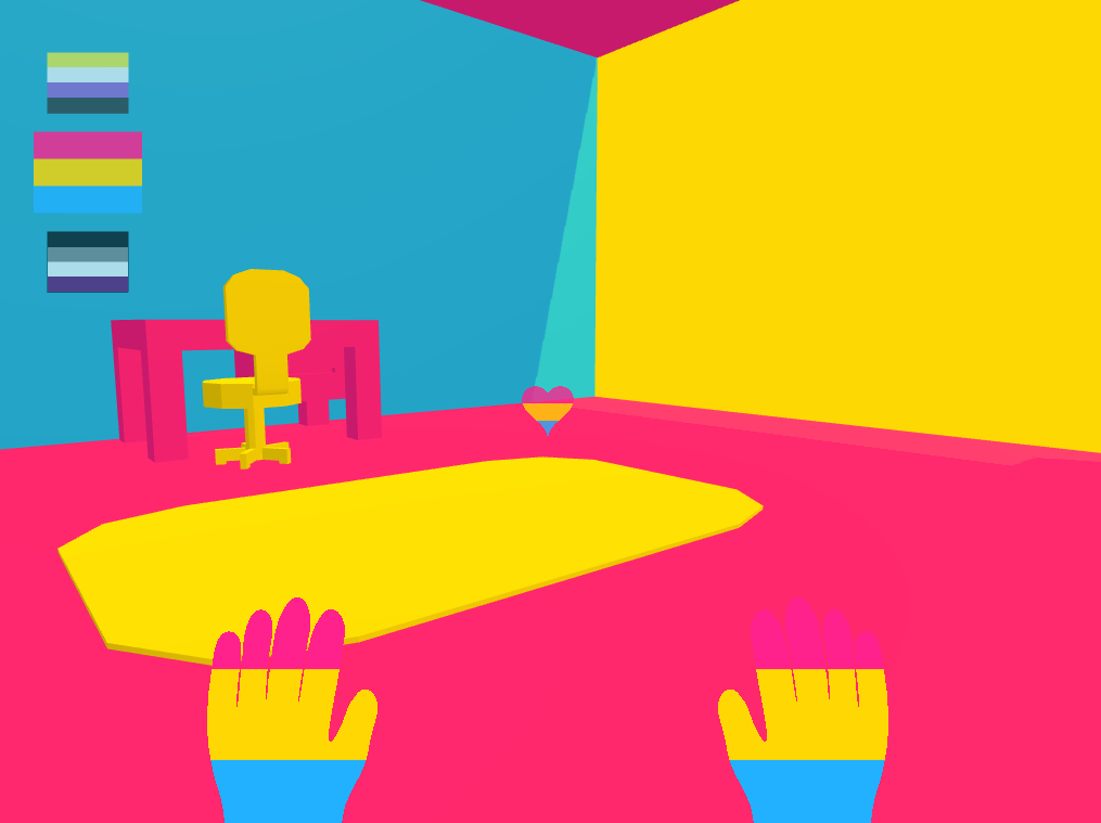 Two hands in the colours of the pansexual flag extend into a bedroom where the walls, floor, rug, desk, and chair are painted in the same colours. The pansexual, asexual, and nonbinary flags are in the top left corner of the game screen.