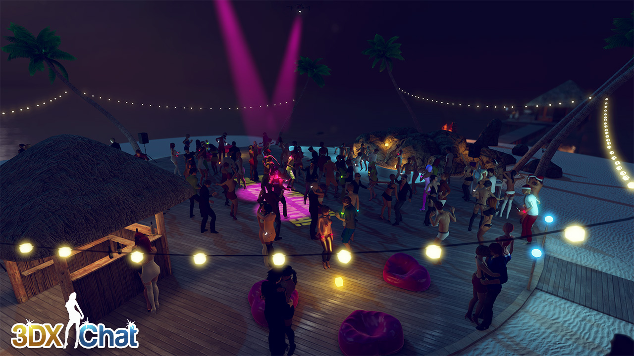 A crowd of people at a party on the beach at night. Some are embracing and kissing each other, some are dancing.