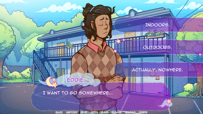 Masc figure in a sweater stands in front of a two-storey house. Dialogue box overlay says 'Eddie: I want to go somewhere' and options include 'Indoors' 'Outdoors' and 'Actually, nowhere'.