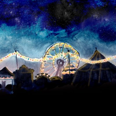 Watercolour scene of a ferris wheel at night, with string lights and circus tents.