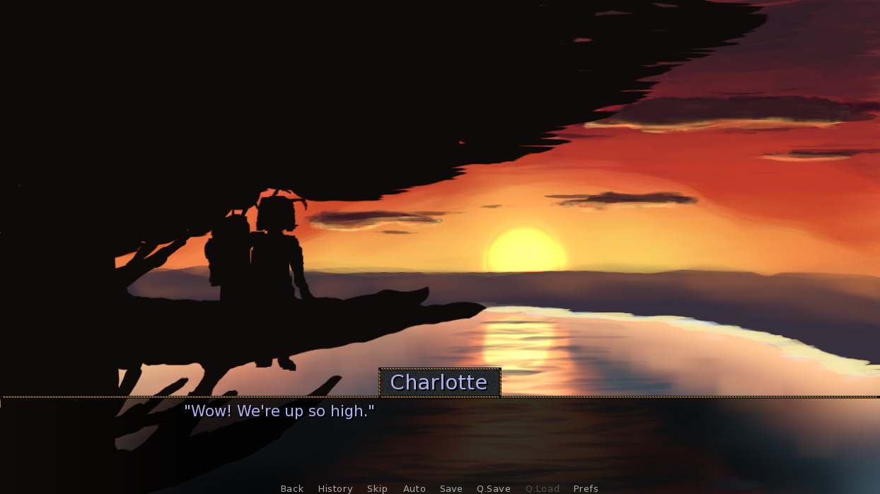 Two silhouettes sit on a tree branch watching the sunset. A dialogue box shows a character called Charlotte saying 'Wow! We're up so high.'