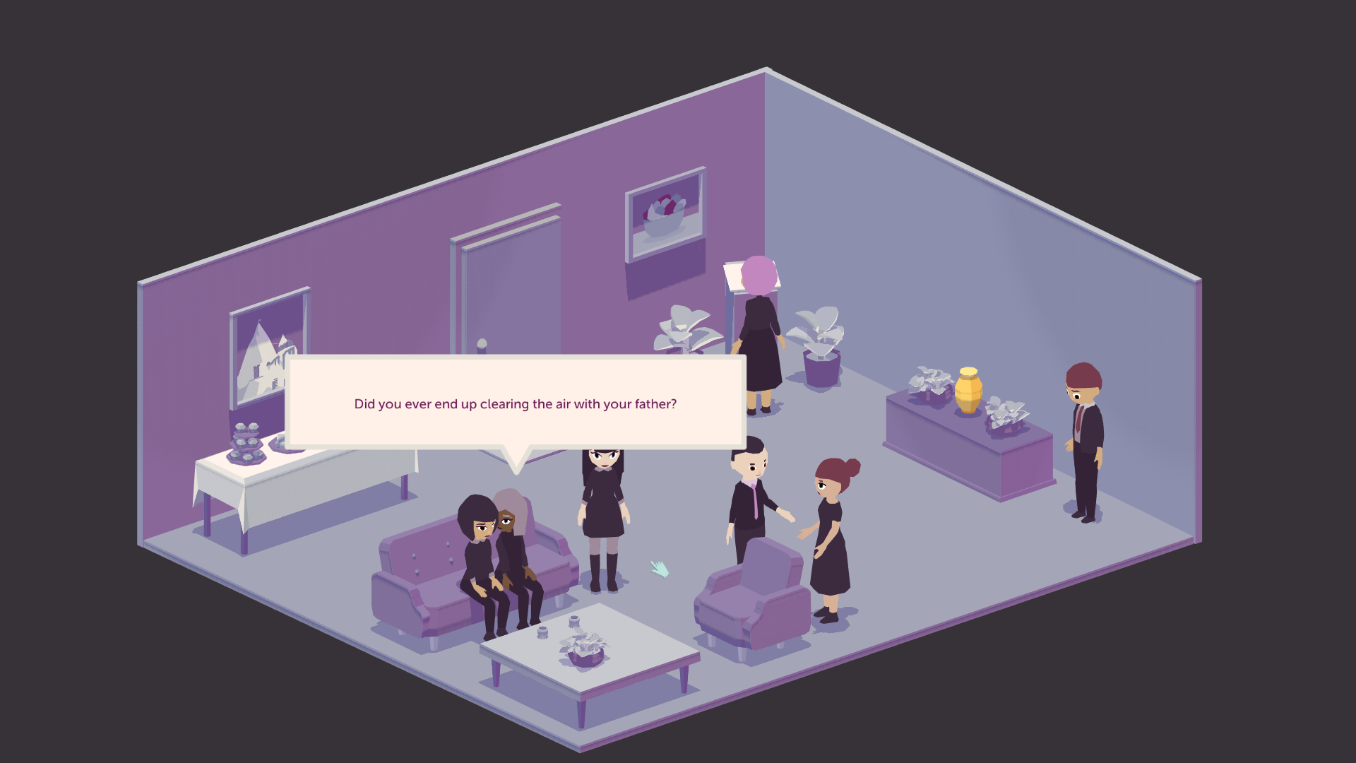 People are milling in a room. Two feminine characters are sitting on a couch. There is a speech bubble showing one saying to the other 'Did you ever end up clearing the air with your father?'
