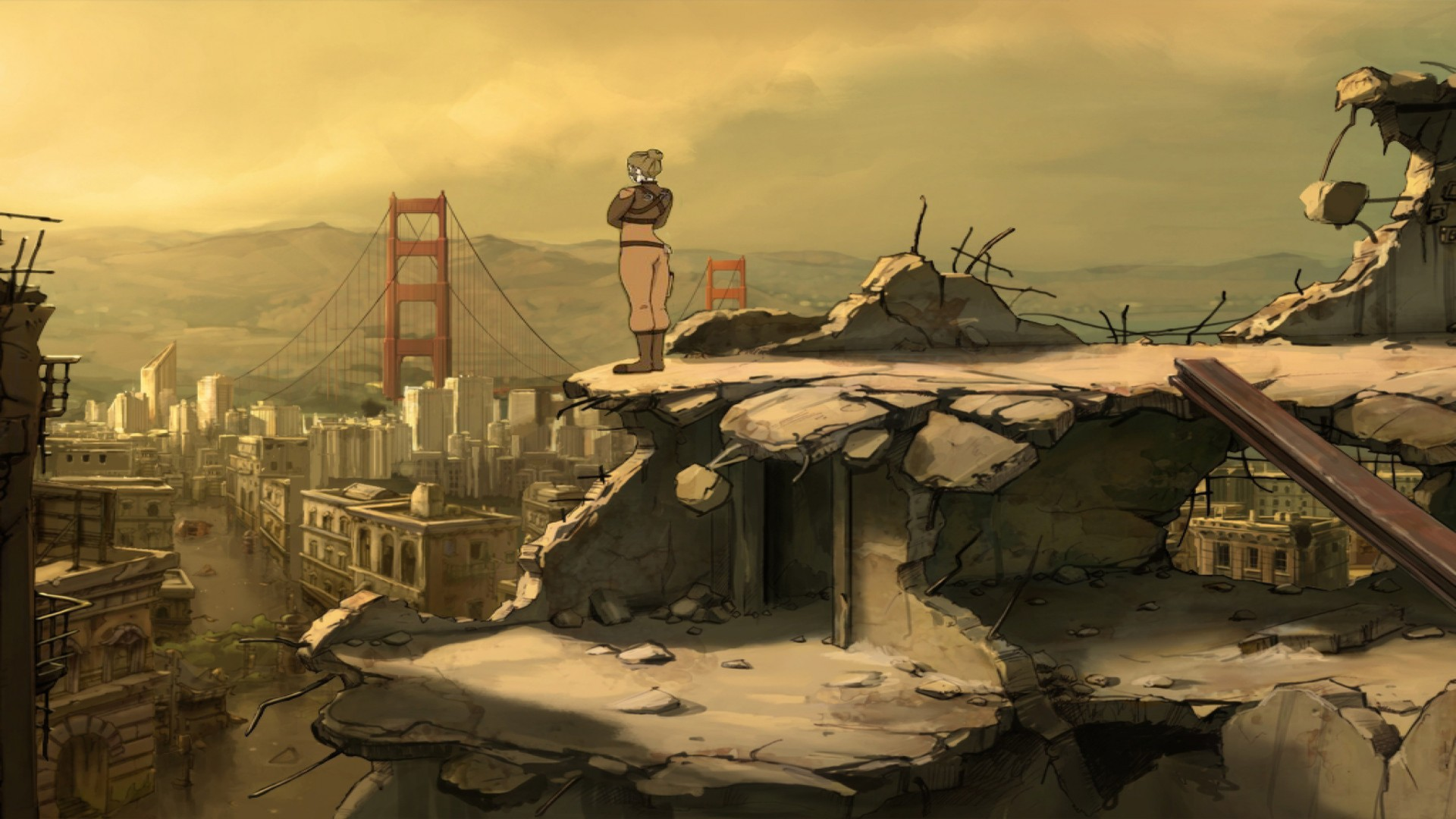 A femme appearing person in military attire stands in the foreground and looks out at a destroyed city, including the Golden Gate Bridge.