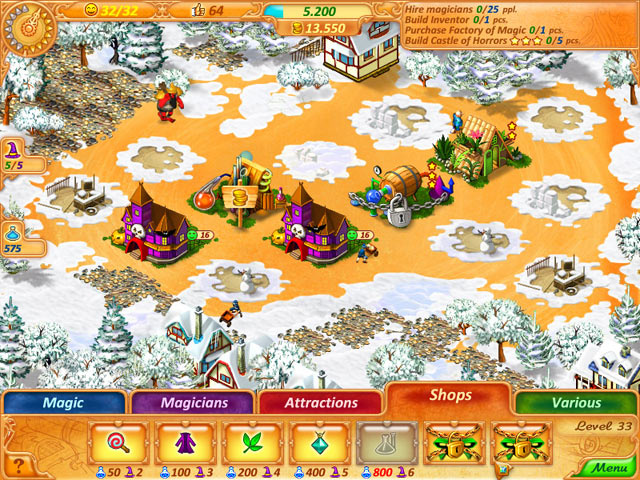 Several buildings in an isometric snowy scene. Overlay shows game features such as time and currency, and includes menu tabs: 'Magic', 'Magicians', 'Attractions', 'Shops', and 'Various'.