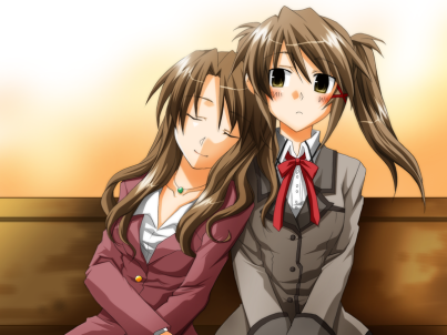 Two femme apearing characters are sitting on a bench, with one leaning on the other's shoulder, her eyes closed.