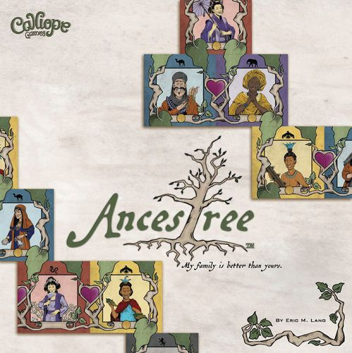 Game title with a tree replacing the t and surrounded by character cards. These cards depict a femme appearing character with a parasol, a masc appearing character with a moustache, a femme appearing character with a head wrap, a masc appearing characters with feathers in his hair, a femme appearing character with a crown, a femme appearing character in a vest, and a femme appearing character with a veil.