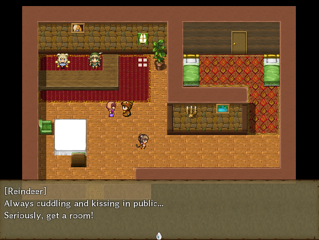 Pixel characters are scattered in an inn. A dialogue box below shows 'Reindeer' saying 'Always cuddling and kissing in public... Seriously, get a room!'