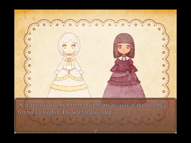 Two feminine characters standing side by side. A text box below them says 'Scarlet roses bloomed from their hearts because of the love they felt for each other. The war finally ended.'