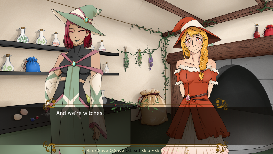 Two feminine figures stand in a shop. A dialogue box below them says 'And we're witches.'