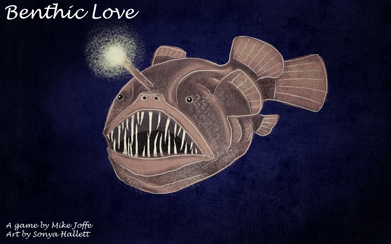 Game title screen with an angler fish.