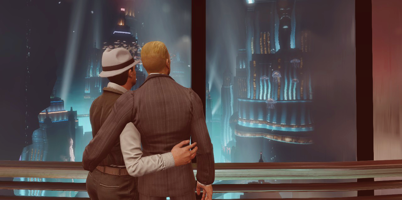 Two masculine figures embrace while looking out a window at a glowing city.