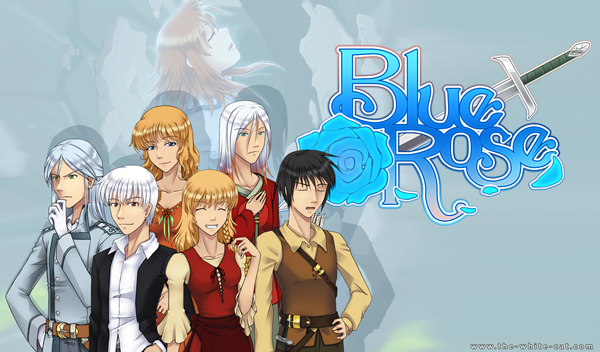 Six figures stand in front of the game title, a rose, and a sword.