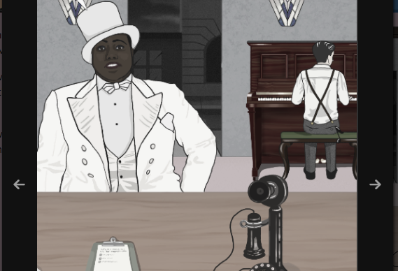 A masculine figure sitting in front of a bar. Another masculine figure is playing the piano in the background.
