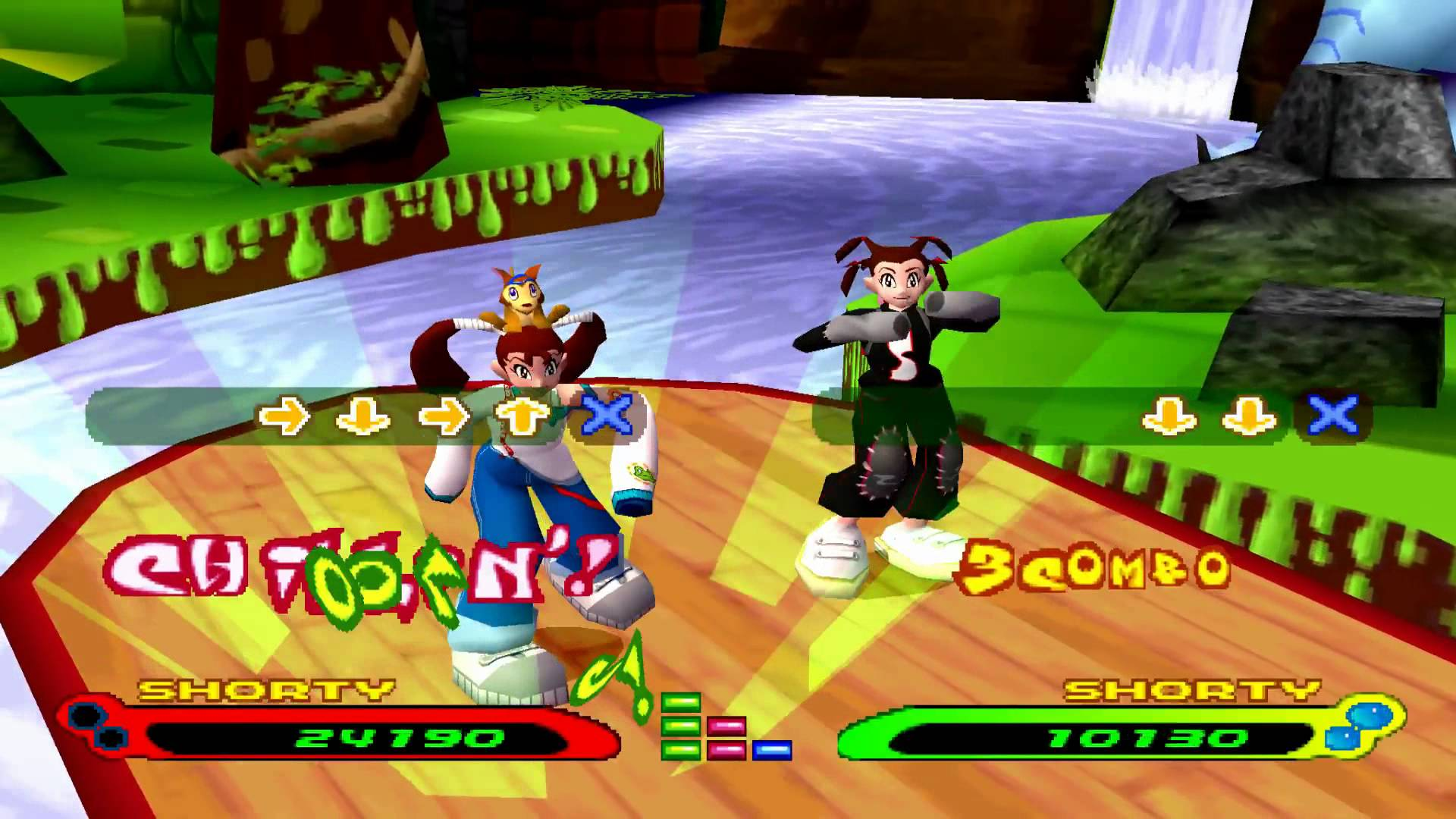 Two feminine figures dance on a wooden platform beside a river. The game overlay shows a series of game buttons, a score for each figure, and the word 'combo'.