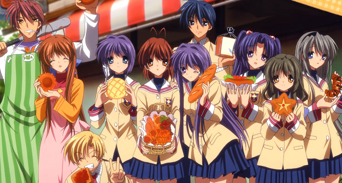 Ten figures gather together holding assorted breads and pastries.