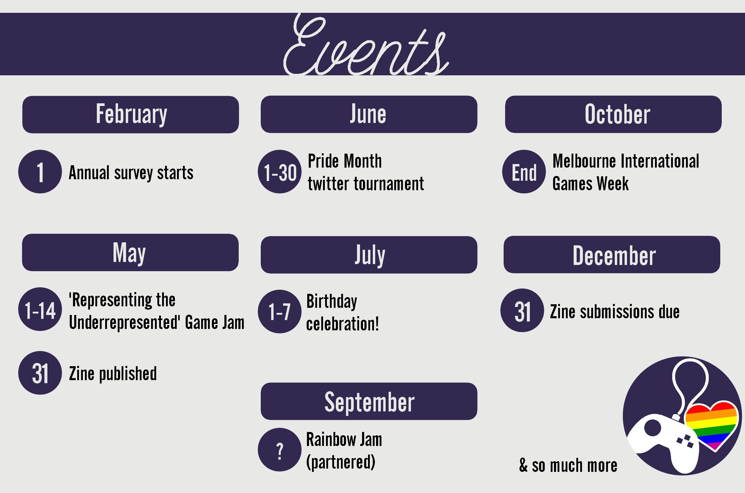 Image representation of the events we hold each year, listed below.