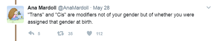 Tweet from Ana Mardoll saying 'Trans' and 'Cis' are modifiers not your gender but of whether you were assigned that gender at birth.