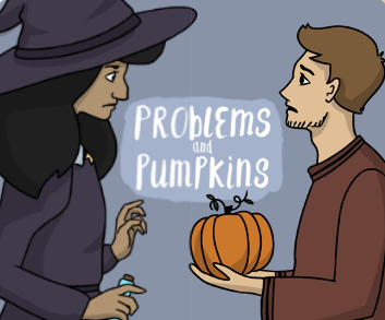 Timid man handing pumpkin to witch