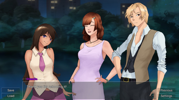 Two feminine characters and one masculine character are standing outside at night, with a dialogue box overlay saying 'Claudia: Thank you for returning it!'