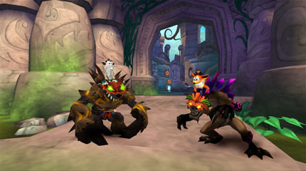 Two humaoid bandicoots face two monstrous creatures in a jungle temple.
