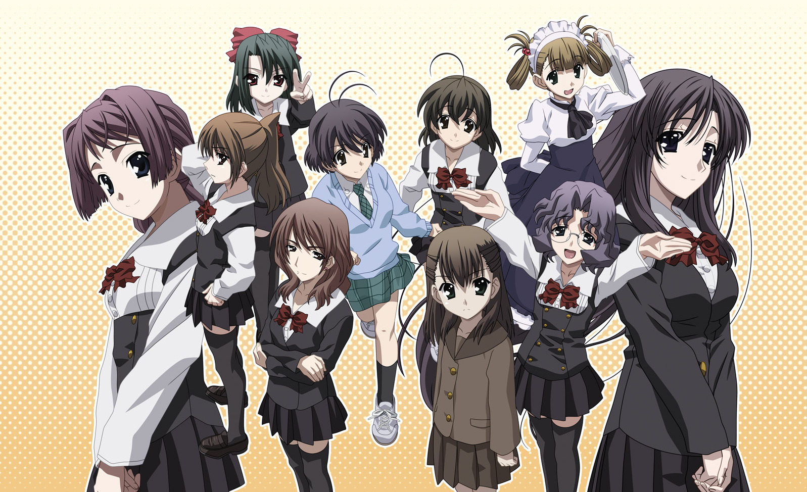Ten feminine figures in school uniforms stand together, some angry and some excited.