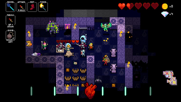 A series of figures in dungeon made up of square tiles.