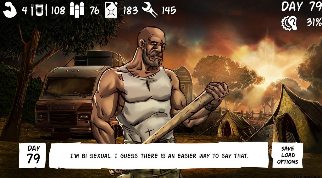 A masculine figure holds a club threateningly, with a game overlay depicting several stats. A dialogue box says, 'I'm bi-sexual. I guess there is an easier way to say that.'