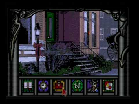 A stoop with stairs and a nearby street lamp is behind a game overlay which shows a book, a clock, a suitcase, a compass, a portrait of a masculine figure, and a disc.