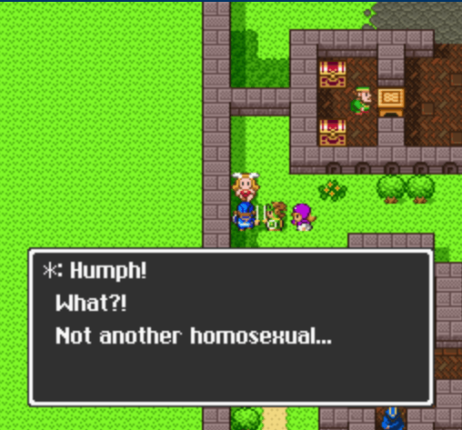 Four figures stand outside in the grass, with a text overlay reading, 'Humph! What?! Not another homosexual...'