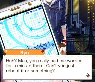 A masculine figure stands behind a mobile phone, which is held close to the camera. A text overlay reads, 'Ryu: Huh? Man, you really had me worried for a minute there! Can't you just reboot it or something?'