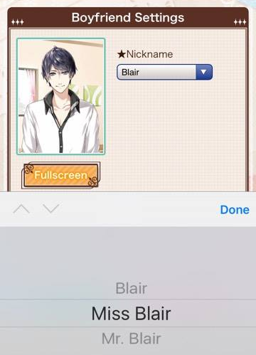A portrait of a masculine figure is beside a dropdown menu, which reads 'Blair'. At the bottom of the window, the options 'Blair', 'Miss Blair', and 'Mr Blair' are available.
