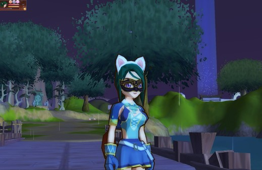 A feminine character wearing a mask and cat ears is standing in a park at night.