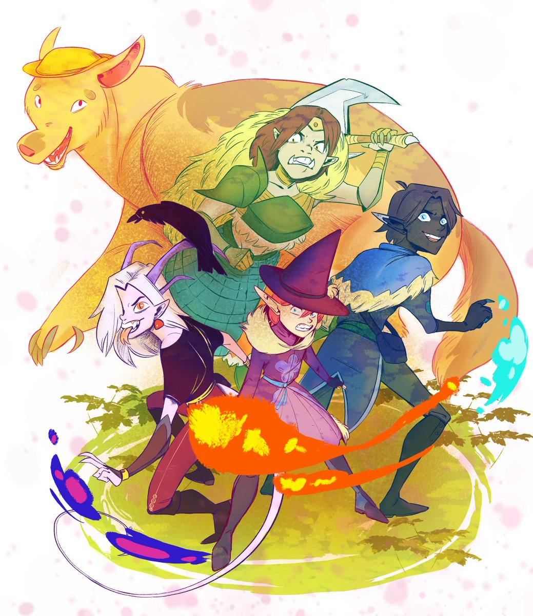 Four fantasy characters stand in front of a large yellow bear