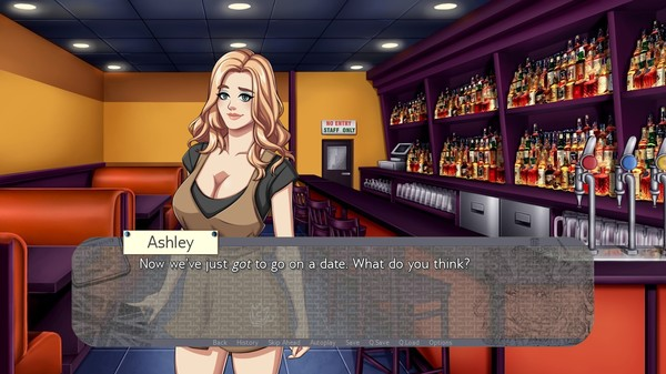 A feminine figure stands in a bar with a dialogue box overlay that says, 'Ashley: Now we've just got to go on a date. What do you think?'