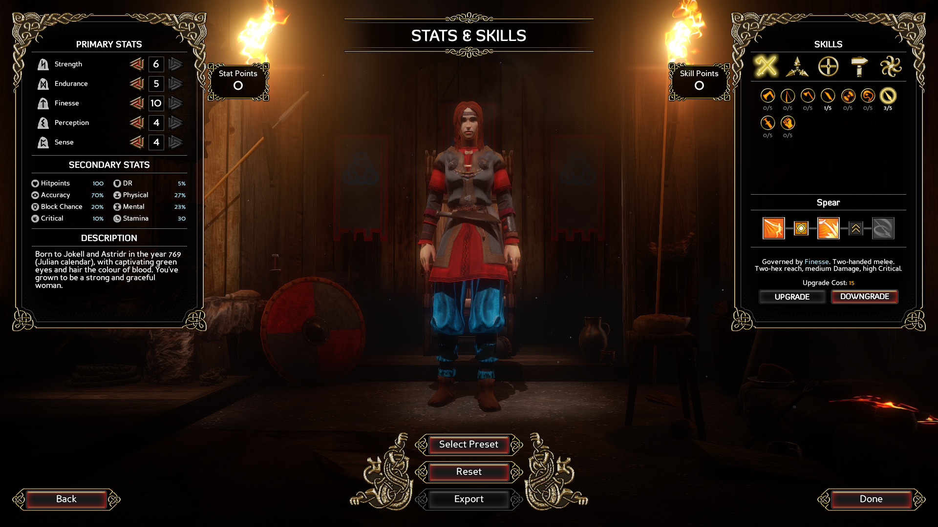 A gender ambiguous character stands inside with torches burning on either side of them. They are surrounded by character creation menus allowing a player to adjust 'Stats and Skills'. Primary stats include Strength, Endurance, Finesse, Perception, and Sense, and secondary stats include Hitpoints, DR, Accuracy, Physical, Block chance, Mental, Critical and Stamina. The description states 'Born to Jokell and Astridr in the year 769 (Julian calendar), with captivating green eyes and hair the colour of blood. You've grown to be a strong and graceful woman.