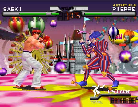 Two figures fight in a carnival setting, with a game overlay showing their health and names: 'Saeki' and 'Pierre'.