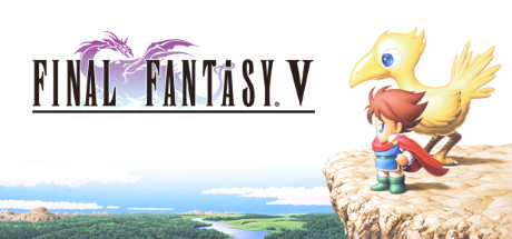 Game title for Final Fantasy 5 with a masculine figure and chocobo looking out over a landscape.