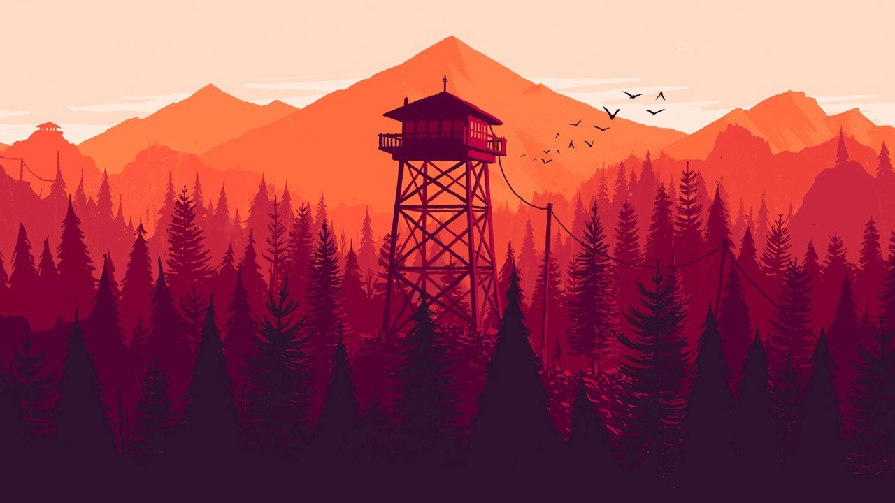 A distant watch tower surrounded by pine trees, mountains, and flying birds.