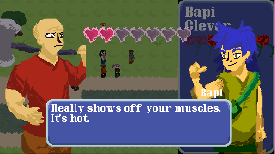 A masculine character faces off against a gender ambiguous character, with two glowing love hearts and five dull love hearts in a game overlay. Text reads, 'Really shows off your muscles. It's hot.'