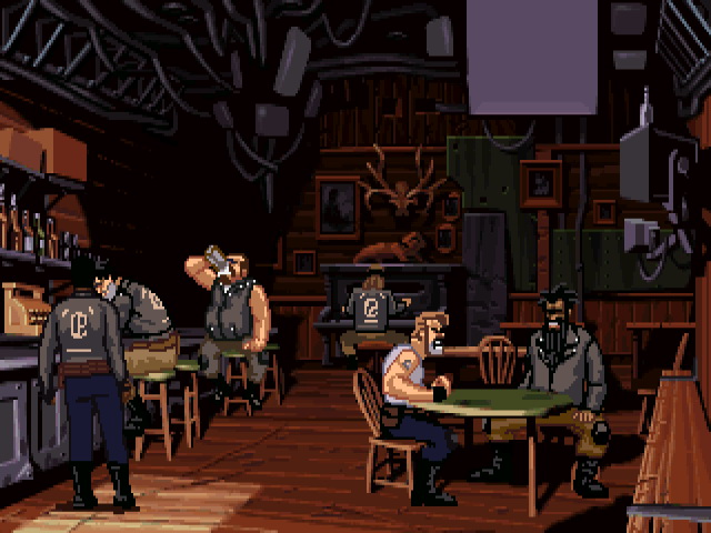 Six masculine figures in biker jackets sit around tables in a bar.