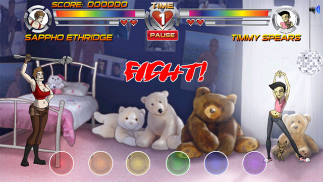 Two feminine figures dance in a bedroom surrounded by giant stuffed animals and a disco ball. A game overlay shows each character's portrait and health bar, and their names: Sappho Ethridge and Timmy Spears.