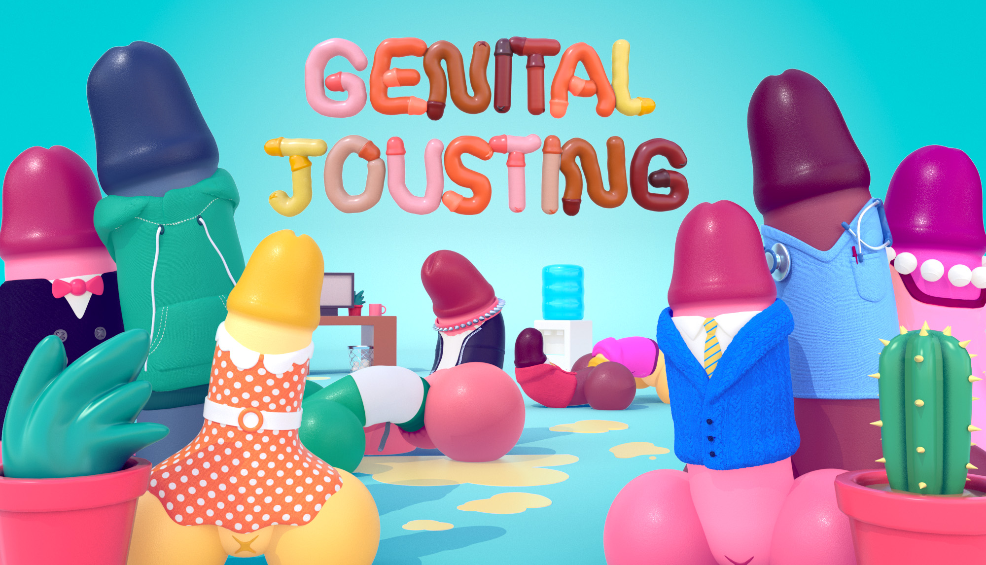 Several bright coloured penises in dresses, suits, and hoodies stand beneath the game title.