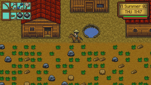 A gender ambiguous character sits astride a horse on a farm, surrounded by a pond, grass, rocks, and three buildings.
